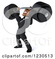 Clipart Of A 3d Black Businessman Lifting A Heavy Barbell 2 Royalty Free Illustration