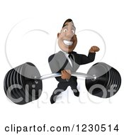 Clipart Of A 3d Black Businessman Lifting A Heavy Barbell One Handed Royalty Free Illustration