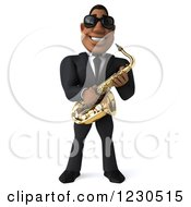 Clipart Of A 3d Black Man In A Suit And Sunglasses Playing A Saxophone Royalty Free Illustration