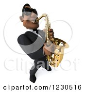 Clipart Of A 3d Black Man In A Suit And Sunglasses Playing A Saxophone 2 Royalty Free Illustration