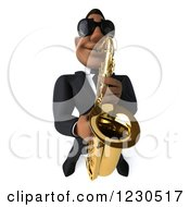 Clipart Of A 3d Black Man In A Suit And Sunglasses Playing A Saxophone 3 Royalty Free Illustration by Julos