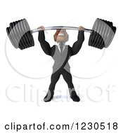 Clipart Of A 3d Black Businessman Lifting A Heavy Barbell Royalty Free Illustration