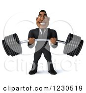 Clipart Of A 3d Black Businessman Holding A Heavy Barbell Royalty Free Illustration
