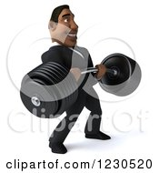 Clipart Of A 3d Black Businessman Holding A Heavy Barbell 2 Royalty Free Illustration