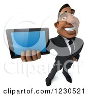 Clipart Of A 3d Black Businessman Holding Out A Tablet Computer Royalty Free Illustration
