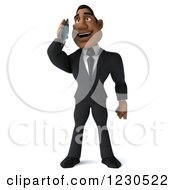 Clipart Of A 3d Black Businessman Talking On A Smartphone Royalty Free Illustration