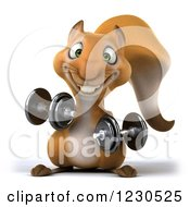Clipart Of A 3d Squirrel Working Out With Dumbbells 3 Royalty Free Illustration by Julos