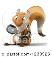 Clipart Of A 3d Squirrel Working Out With Dumbbells 4 Royalty Free Illustration by Julos