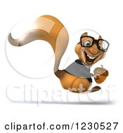 Clipart Of A 3d Bespectacled Business Squirrel Hopping With An Acorn Royalty Free Illustration by Julos