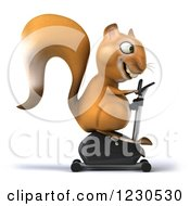 Clipart Of A 3d Squirrel Exercising On A Gym Spin Bike Royalty Free Illustration