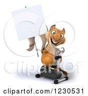 Clipart Of A 3d Squirrel Holding A Sign And Exercising On A Gym Spin Bike Royalty Free Illustration