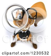 Clipart Of A 3d Business Squirrel Looking Through A Magnifying Glass Royalty Free Illustration