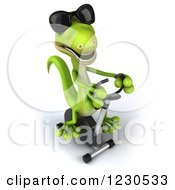 Clipart Of A 3d Green Gecko In Sunglasses Exercising On A Spin Bike 3 Royalty Free Illustration