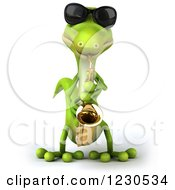 Clipart Of A 3d Green Gecko In Sunglasses Playing A Saxophone 2 Royalty Free Illustration by Julos