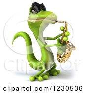 Clipart Of A 3d Green Gecko In Sunglasses Playing A Saxophone Royalty Free Illustration by Julos