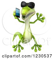 Clipart Of A 3d Green Gecko In Sunglasses Jumping And Talking On A Smart Phone Royalty Free Illustration