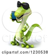 Clipart Of A 3d Green Gecko In Sunglasses Talking On A Smart Phone Royalty Free Illustration