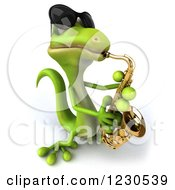 3d Green Gecko In Sunglasses Playing A Saxophone 3