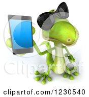Clipart Of A 3d Green Gecko Wearing Sunglasses And Holding Up A Smart Phone Royalty Free Illustration
