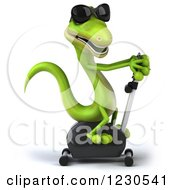 Clipart Of A 3d Green Gecko In Sunglasses Exercising On A Spin Bike Royalty Free Illustration
