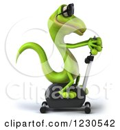 Clipart Of A 3d Green Gecko In Sunglasses Exercising On A Spin Bike 2 Royalty Free Illustration