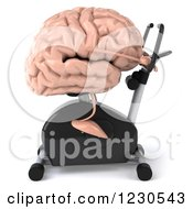 Clipart Of A 3d Brain Mascot Exercising On A Stationary Bike Royalty Free Illustration