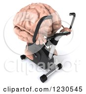 Clipart Of A 3d Brain Mascot Exercising On A Stationary Bike 3 Royalty Free Illustration