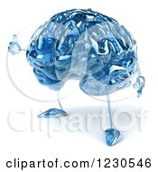 Clipart Of A 3d Blue Glass Brain Holding A Thumb Up Royalty Free Illustration by Julos