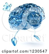 Clipart Of A 3d Blue Glass Brain Jumping Royalty Free Illustration by Julos