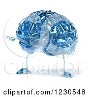 Clipart Of A 3d Blue Glass Brain Presenting Royalty Free Illustration by Julos