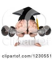 Clipart Of A 3d Graduation Brain Lifting Weights Royalty Free Illustration