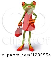 3d Female Springer Frog In A Red Dress