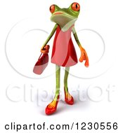 Clipart Of A 3d Female Springer Frog In A Red Dress 2 Royalty Free Illustration