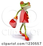 3d Female Springer Frog In A Red Dress Facing Right