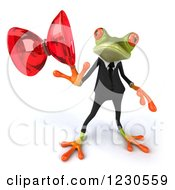 Clipart Of A 3d Business Springer Frog Playing With A Yoyo 2 Royalty Free Illustration