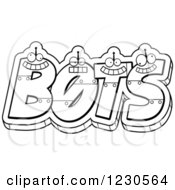 Clipart Of Outlined Robot Letters Forming The Word BOTS Royalty Free Vector Illustration