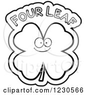 Clipart Of An Outlined Happy Shamrock With Four Leaf Text Royalty Free Vector Illustration