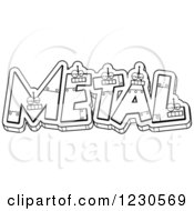 Clipart Of Outlined Robot Letters Forming The Word METAL Royalty Free Vector Illustration
