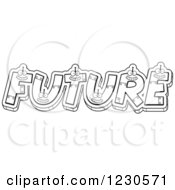 Clipart Of Outlined Robot Letters Forming The Word FUTURE Royalty Free Vector Illustration