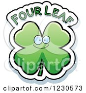 Clipart Of A Happy Shamrock With Four Leaf Text Royalty Free Vector Illustration