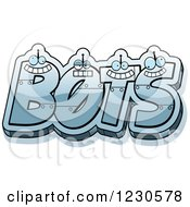 Clipart Of Robot Letters Forming The Word BOTS Royalty Free Vector Illustration