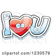 Clipart Of A Happy Red Heart And Letters Forming I Love You Royalty Free Vector Illustration by Cory Thoman