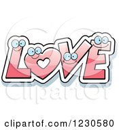 Clipart Of A Happy Pink Heart And Letters Forming Love Royalty Free Vector Illustration by Cory Thoman
