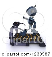 Clipart Of A 3d Android Robot Exercising On A Treadmill 2 Royalty Free Illustration by KJ Pargeter