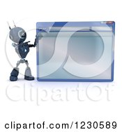Clipart Of A 3d Blue Android Robot Pointing To A Computer Window Royalty Free Illustration