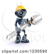 Poster, Art Print Of 3d Blue Android Construction Robot With A Spanner Wrench 2