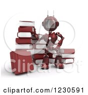 Clipart Of A 3d Red Android Robot With Books Royalty Free Illustration