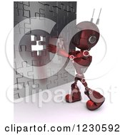 3d Red Android Robot Inserting The Last Piece To A Puzzle Wall