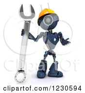 Poster, Art Print Of 3d Blue Android Construction Robot With A Spanner Wrench 3