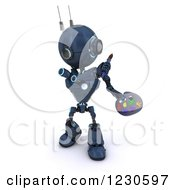 Clipart Of A 3d Blue Android Robot Artist Painting Royalty Free Illustration by KJ Pargeter